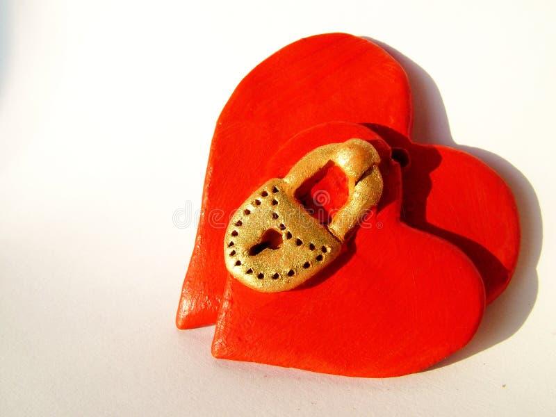 Corações Locked 1 do Valentim imagens de stock