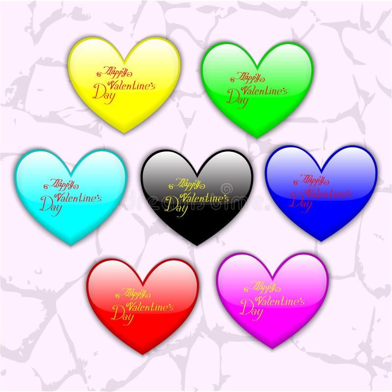 Corações lustrosos coloridos para o dia do ` s do Valentim do St foto de stock