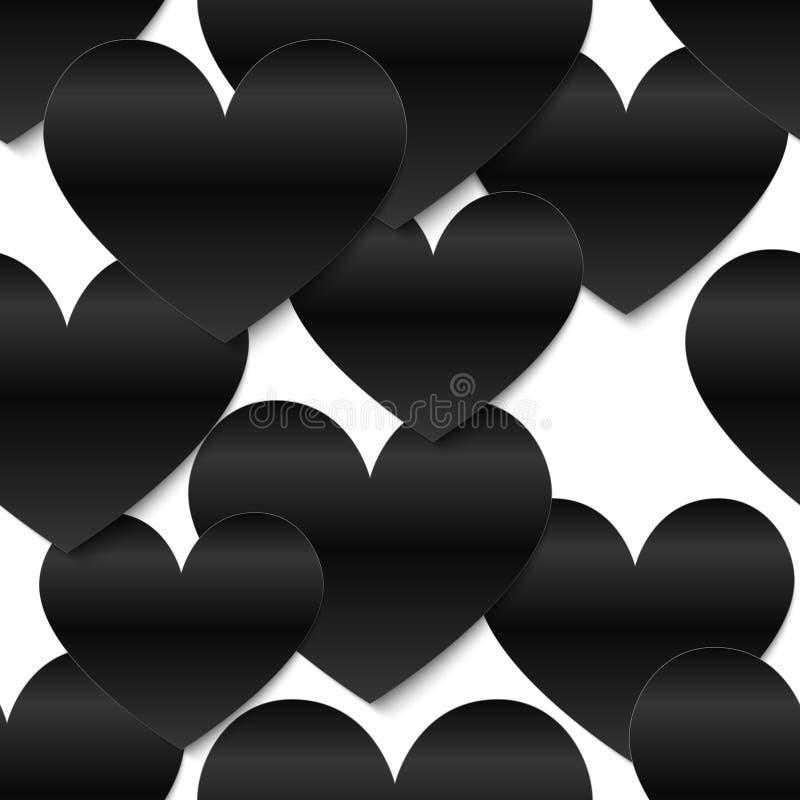 Corações lustrosos pretos do papel do vetor, fundo branco ilustração royalty free