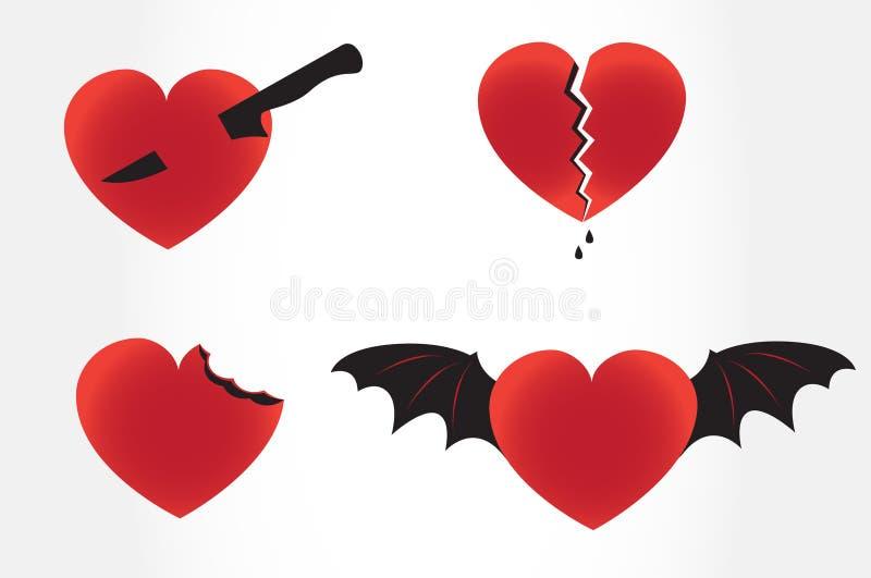 Corações maus ilustração do vetor