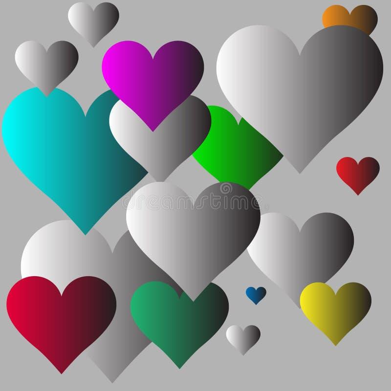 Corações multicoloridos com fundo cinzento ilustração do vetor