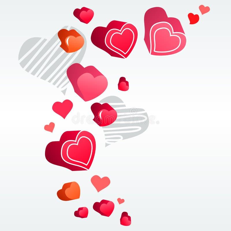 Corações na luz - fundo cinzento ilustração royalty free