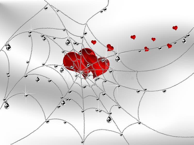 Corações na teia de aranha ilustração do vetor