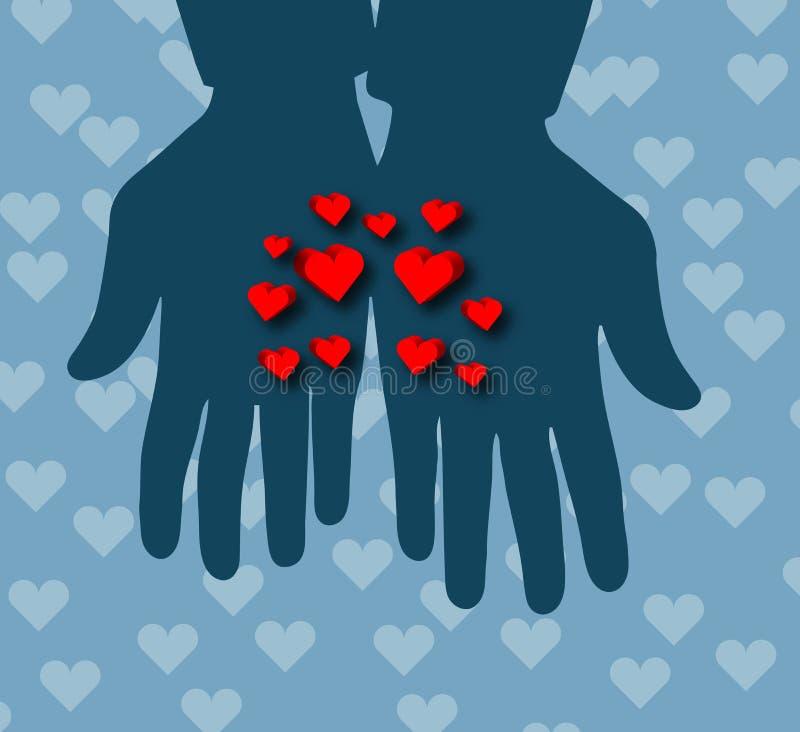 Corações nas mãos! ilustração royalty free