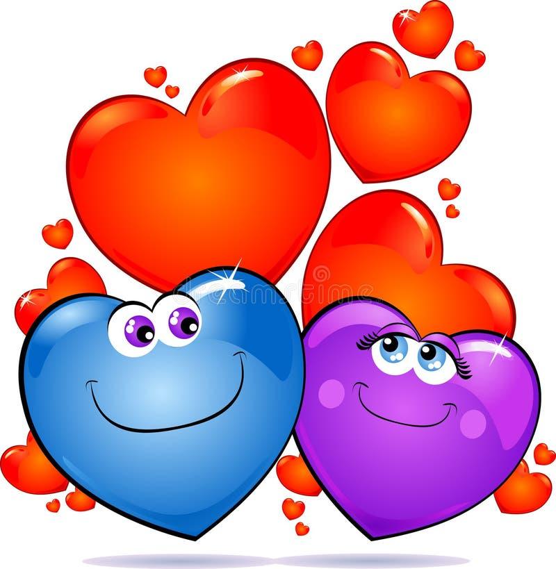 Corações no amor ilustração royalty free