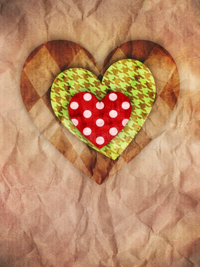 Corações no papel marrom foto de stock royalty free