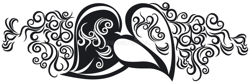 Corações no preto ilustração do vetor
