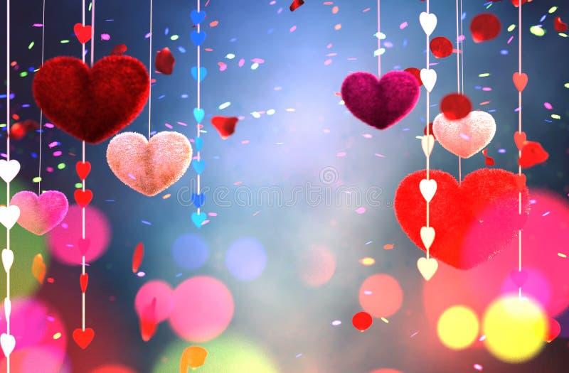 Corações peludos coloridos do sumário ilustração stock