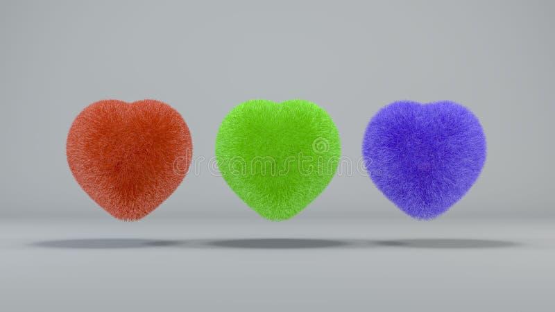 3 corações peludos coloridos em um fundo claro 3d rendem ilustração royalty free