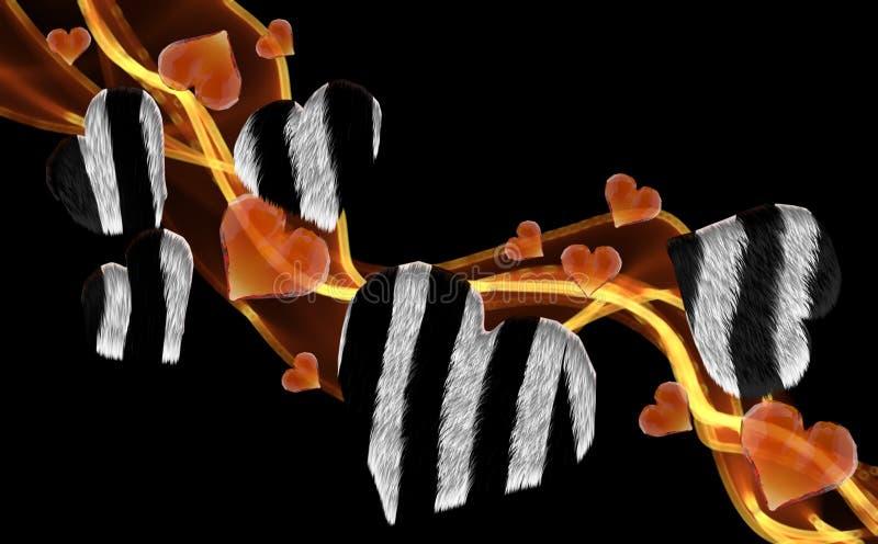 Corações peludos da gema da zebra que conduzem a onda do fumo do fogo isolada no fundo escuro Baixo estilo poli triangular emaran ilustração stock