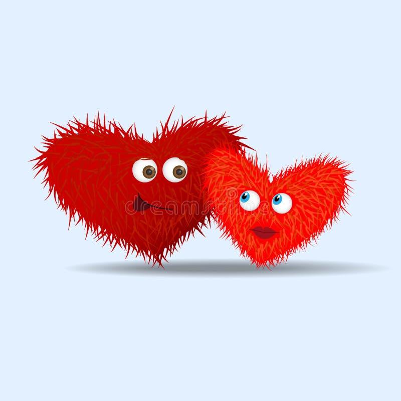 Corações peludos engraçados com olhos ilustração do vetor