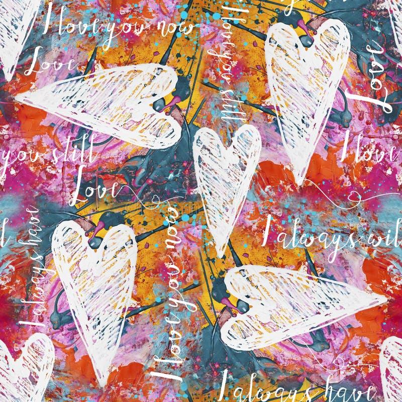 Corações Pintados E Padrão Sem Olhos ilustração stock