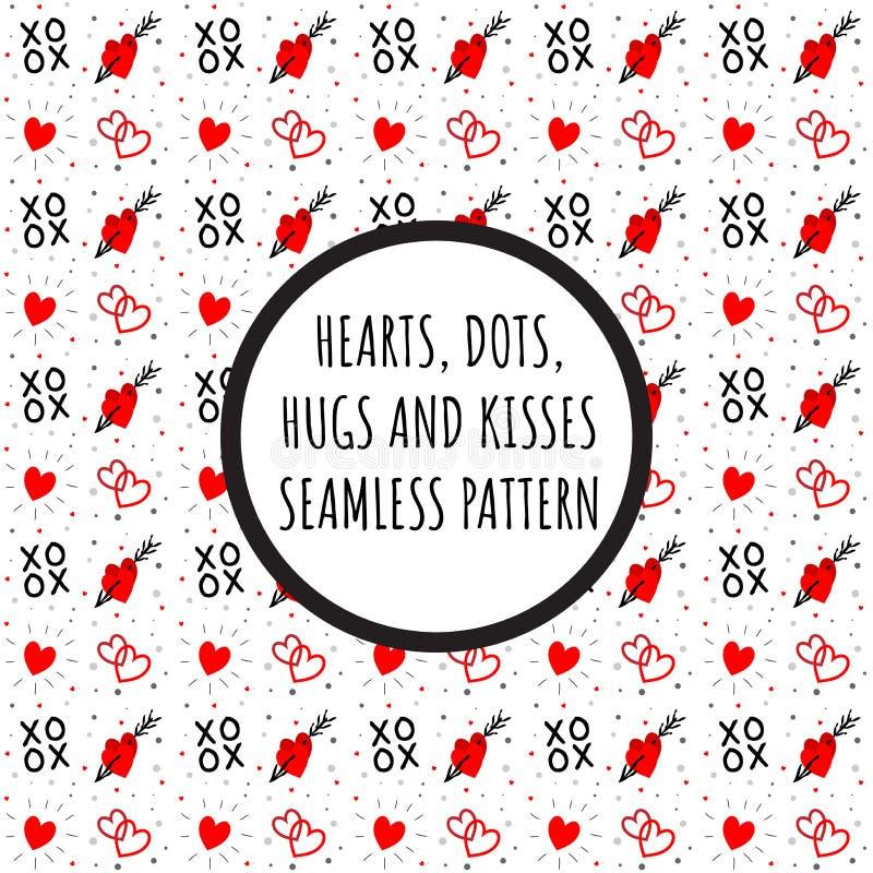 Corações, pontos, XOXO - abraça e beija o teste padrão ilustração do vetor