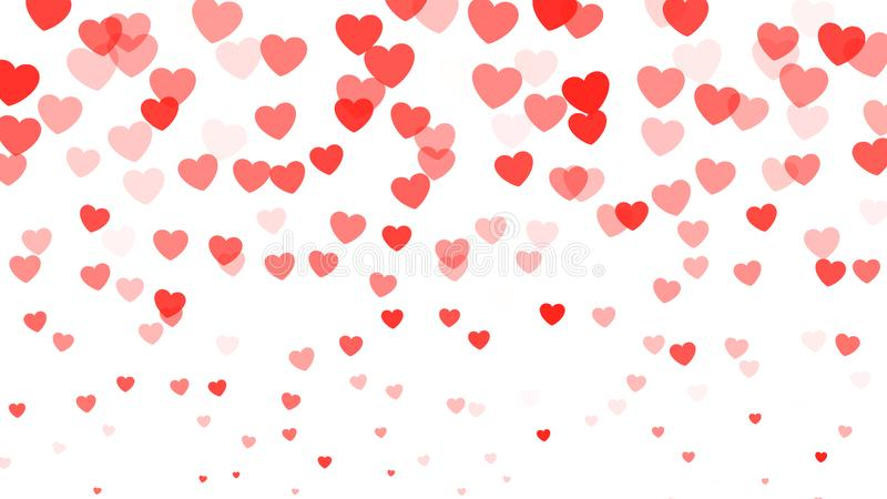 Corações que caem no fundo branco Confetes vermelhos dos corações isolados no branco Decoração do dia de Valentim Ilustração do v ilustração stock
