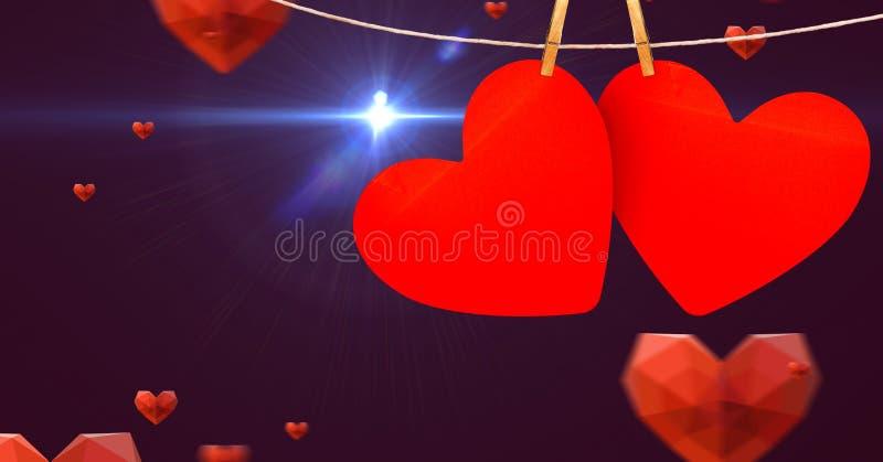 Corações que penduram na linha contra o fundo digitalmente gerado foto de stock
