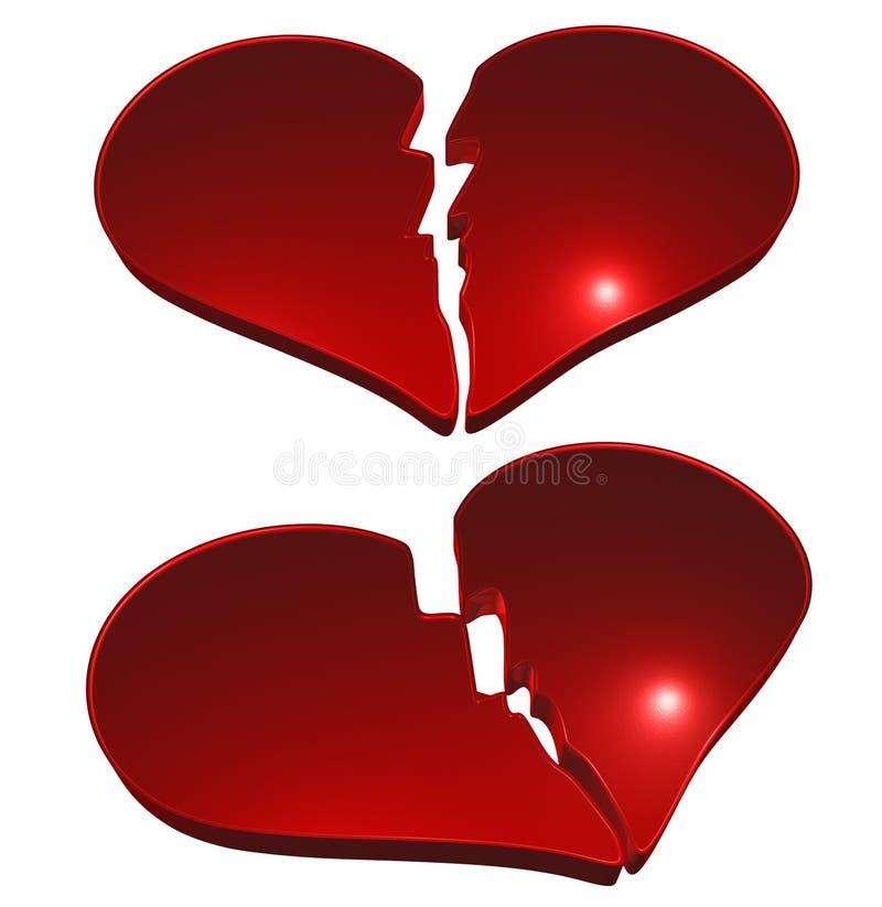Corações quebrados ilustração royalty free