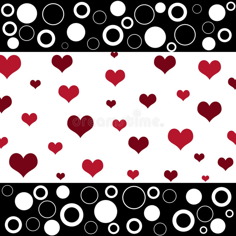 Corações retros e círculos ilustração stock