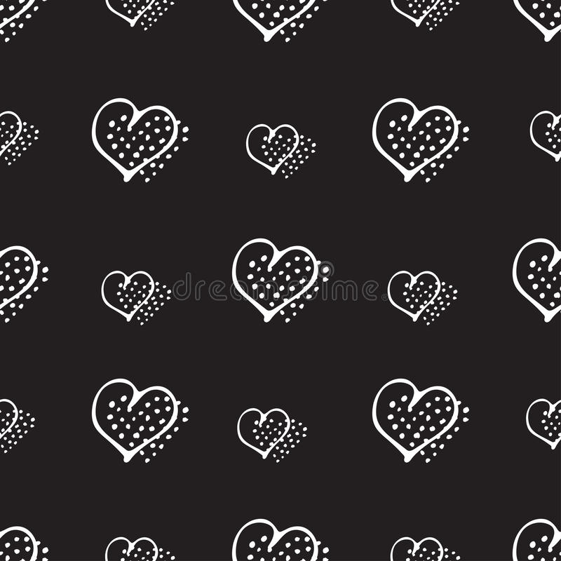 Corações românticos da garatuja do teste padrão sem emenda do amor ilustração royalty free