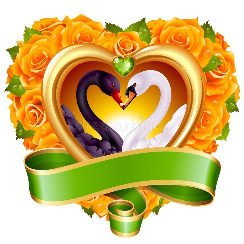 Corações, rosas e cisnes ilustração stock