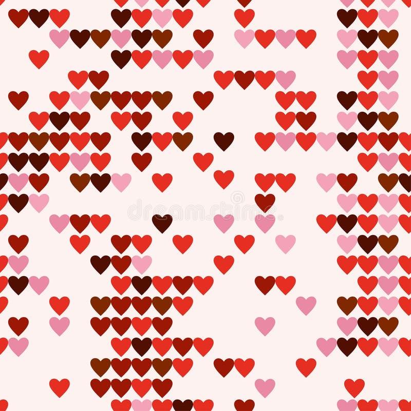 Corações sem emenda da arte do pixel do teste padrão ilustração royalty free