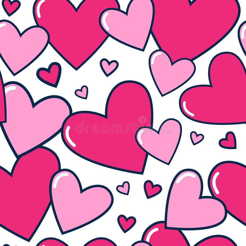 Corações sem emenda do rosa do teste padrão no ornamento bonito do dia de Valentim do fundo branco ilustração royalty free