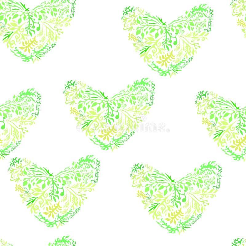 Corações sem emenda do verde do teste padrão do projeto ilustração stock