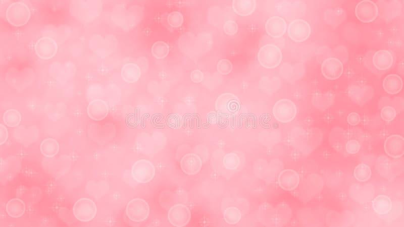 Corações, Sparkles e bolhas borrados abstratos no fundo cor-de-rosa ilustração stock
