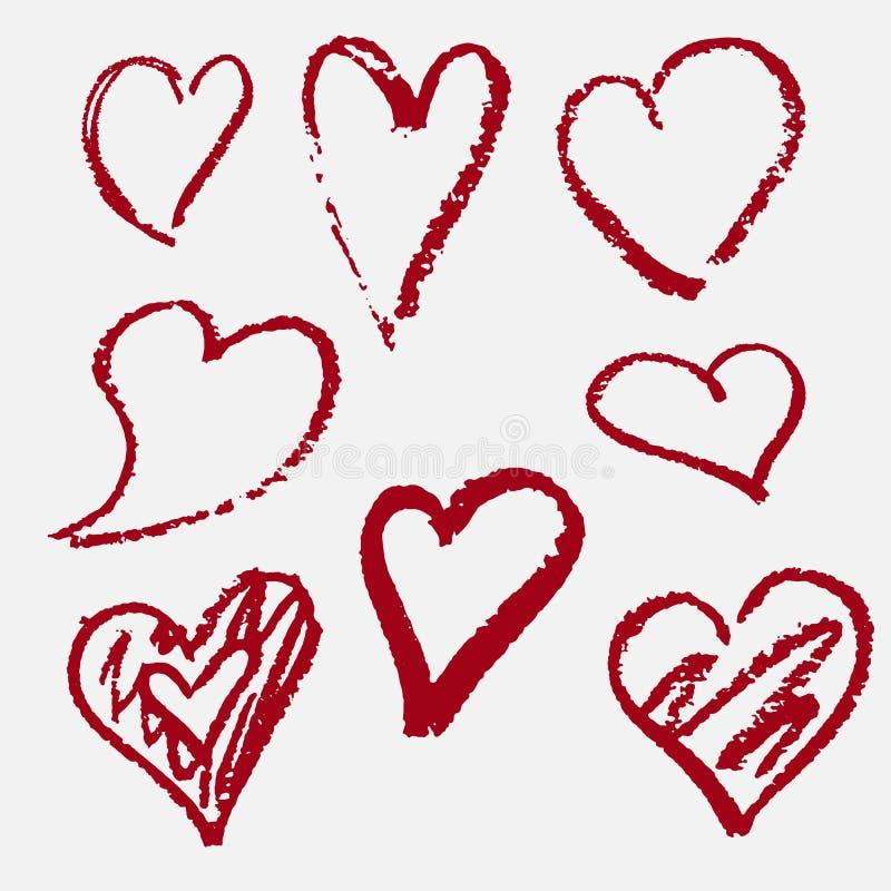Corações tirados à mão Vermelho decor ilustração royalty free