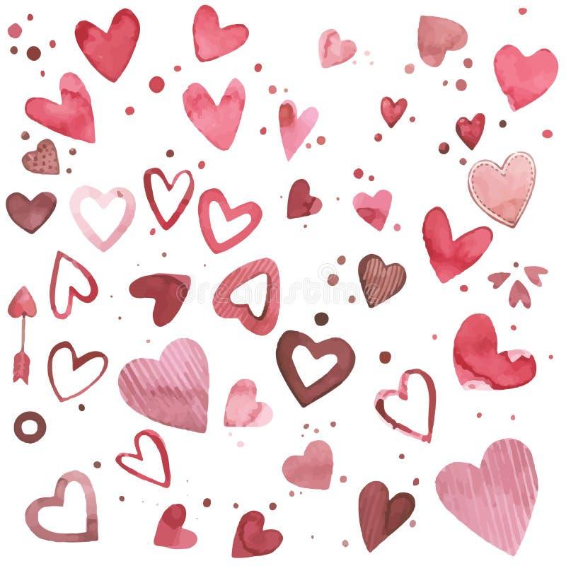 Corações tirados mão do vetor Grupo do rosa da aquarela de elementos para o dia do ` s do Valentim Elementos do projeto do álbum  ilustração do vetor