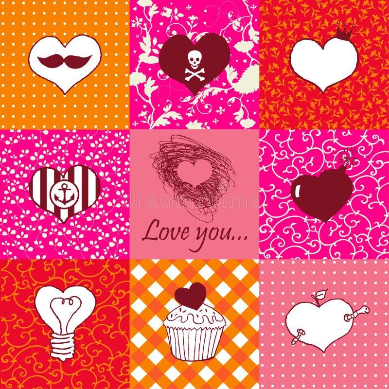 Download Grupo à Moda De Nove Corações Tirados Mão Ilustração do Vetor - Ilustração de bomba, fruta: 29826983