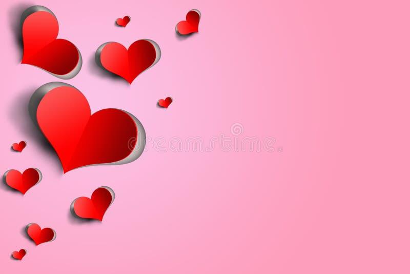 Corações tridimensionais vermelhos do papel-corte no fundo cor-de-rosa ilustração royalty free