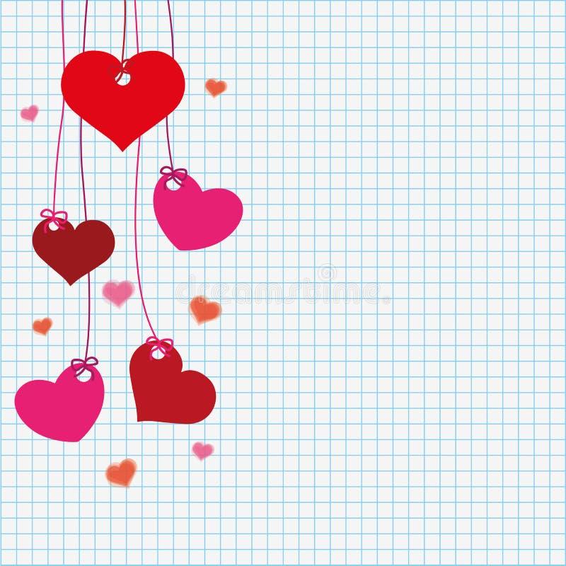 Corações verificados da suspensão de papel ilustração do vetor