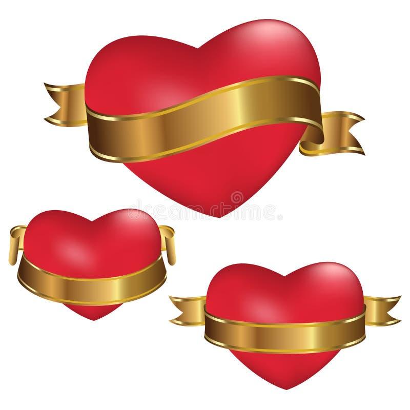 Corações vermelhos com as fitas douradas isoladas no fundo branco Decoração para o dia do ` s do Valentim e os outros feriados Ve ilustração stock