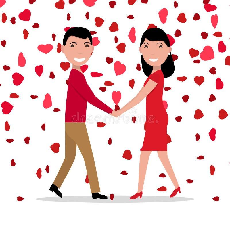 Corações vermelhos de queda dos pares do amor dos desenhos animados do vetor ilustração stock