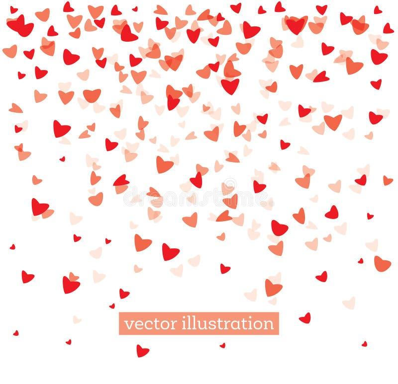 Corações vermelhos de queda no fundo branco ilustração do vetor
