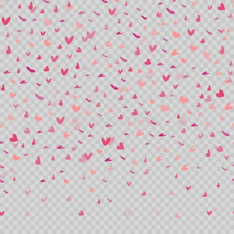 Corações vermelhos de queda no fundo transparente Vetor ilustração royalty free