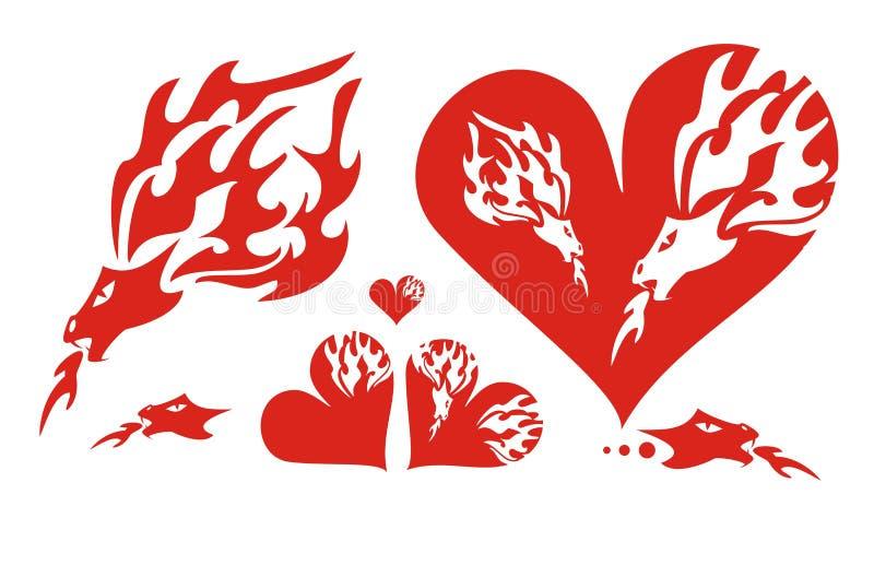 Corações vermelhos de um dragão e de um dragão flamejante ilustração royalty free