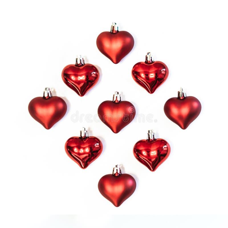 Corações vermelhos, decorações imagens de stock royalty free