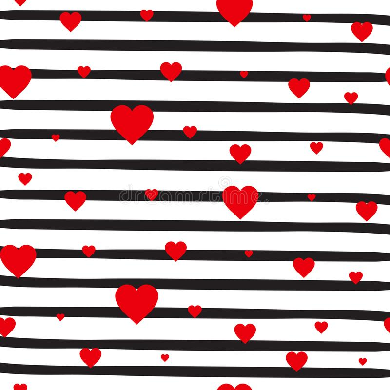 Corações vermelhos do teste padrão sem emenda retro em fundo branco listrado Valentine Day Ornament ilustração royalty free