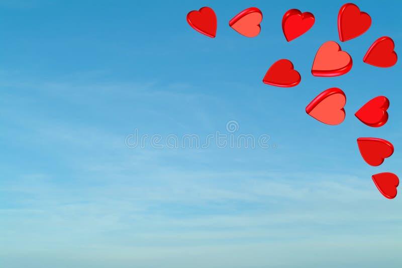 Corações vermelhos do Valentim com céu ilustração royalty free