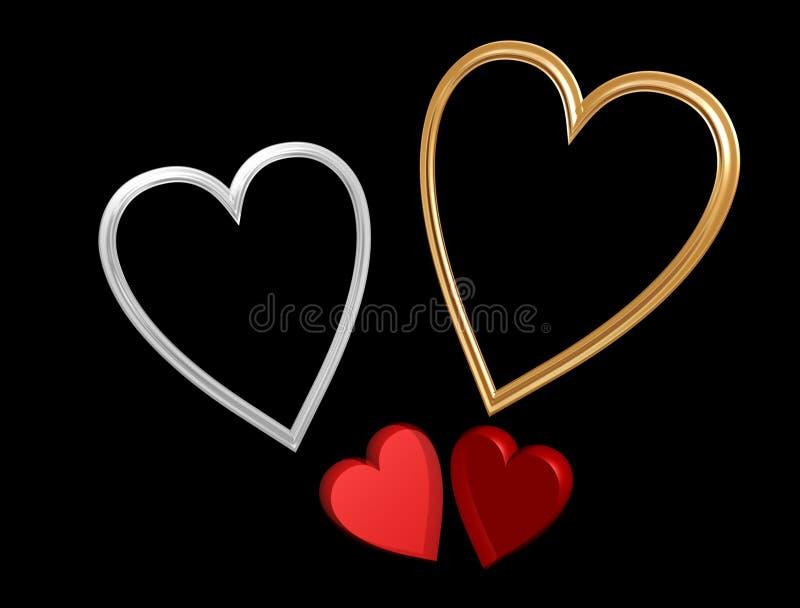 Corações vermelhos do Valentim com frames do coração ilustração do vetor