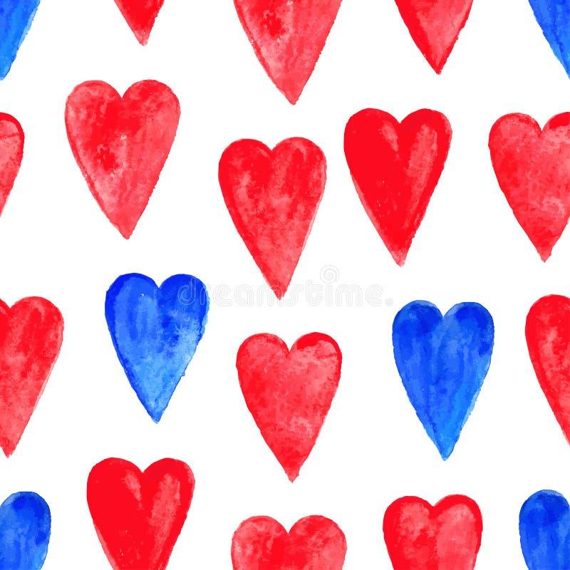 Corações vermelhos e azuis da aquarela ilustração stock