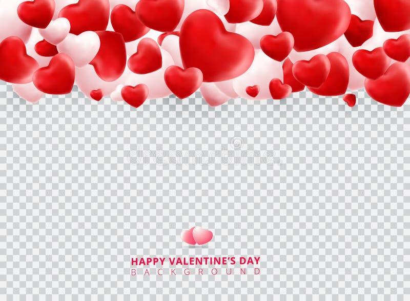 Corações vermelhos e brancos macios e lisos do dia de Valentim no transpare ilustração royalty free