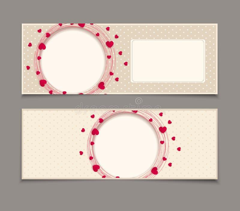 Corações vermelhos em torno do quadro circular ilustração stock
