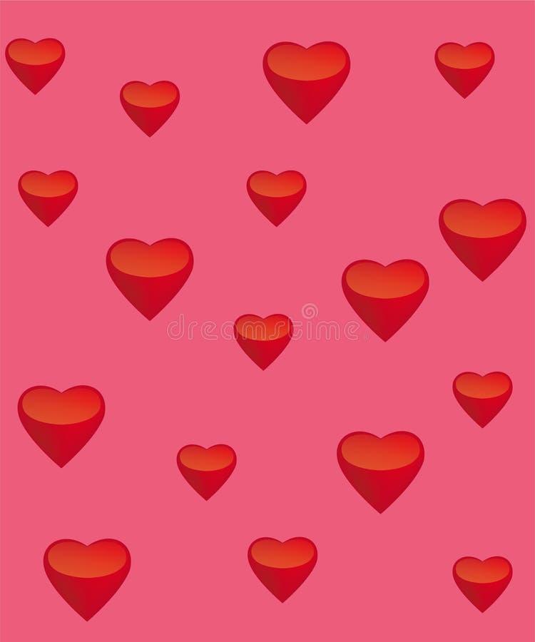Corações vermelhos em um fundo cor-de-rosa foto de stock royalty free