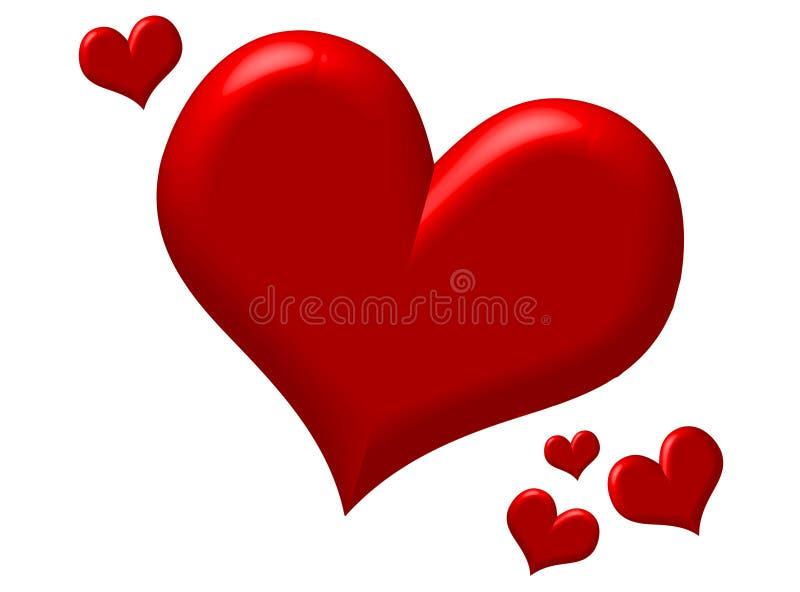 Corações vermelhos inchado ilustração stock