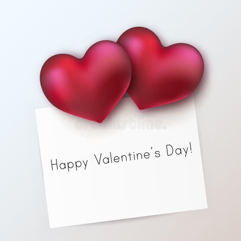 Corações vermelhos lustrosos com Livro Branco ilustração stock