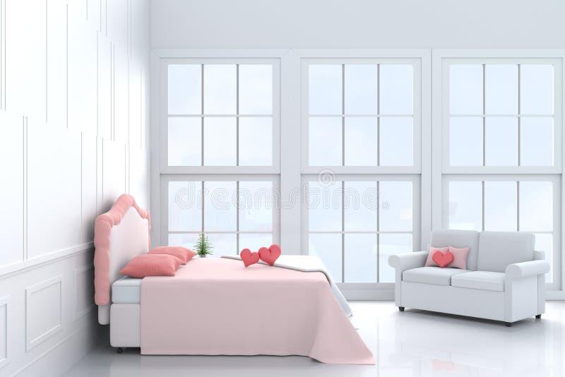 Corações vermelhos na cama cor-de-rosa no quarto do amor no dia do ` s do Valentim Fundo e interior 3d rendem ilustração royalty free
