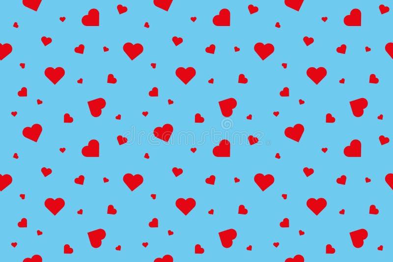 Corações vermelhos no fundo azul ilustração stock