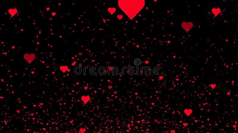 Corações vermelhos no fundo preto fundo da ilustração 3D ilustração do vetor